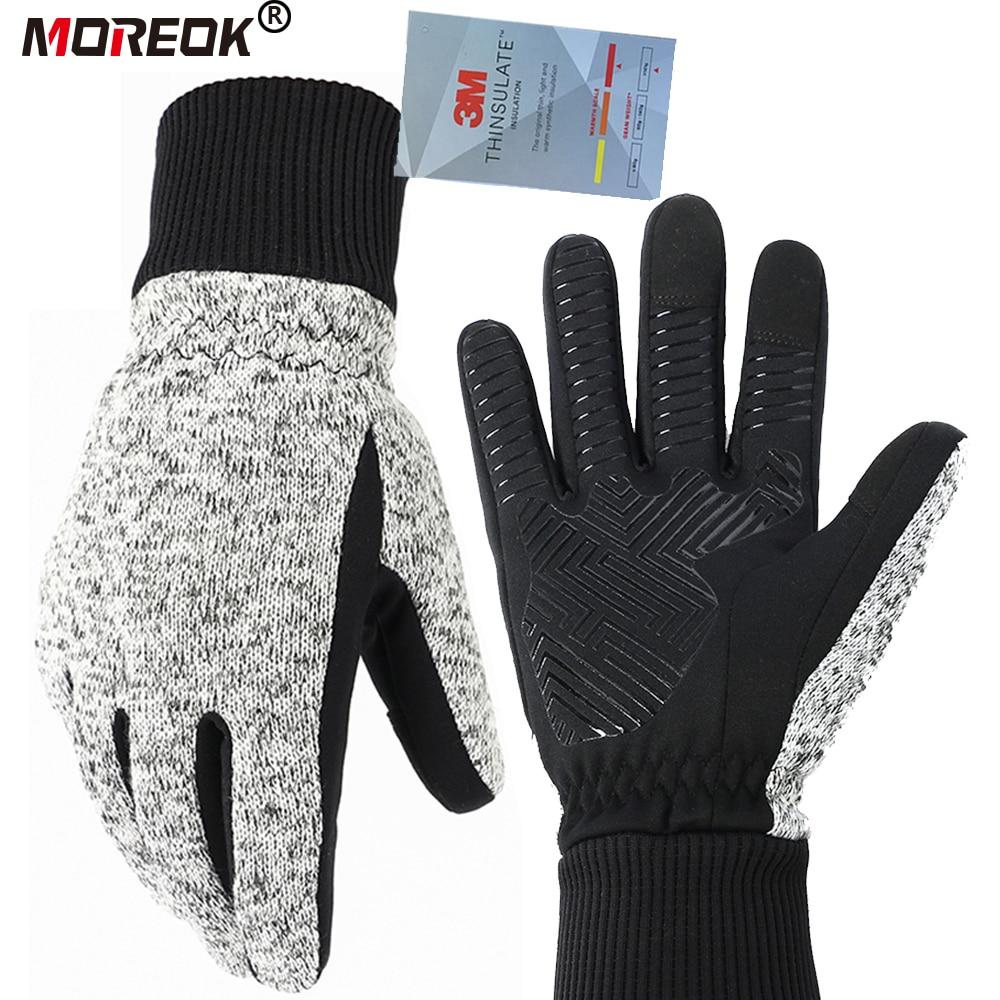 Зимние трикотажные перчатки MOREOK Thinsulate с сенсорным экраном и полным пальцем для занятий спортом на открытом воздухе, MTB, велосипедные перчатки для мужчин