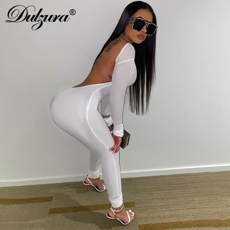 Dulzura Ribbed Knitted Women Long Sleeve Jumpsuit Backless Bodycon Sexy Sporty Streetwear 2020 Autumn Winter Club Solid