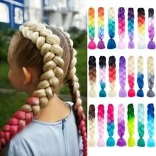 Fräulein Rola 100G 24Inch Synthetische Einzel Ombre Farbe Rosa Glowing Haar Für Großhandel Haar Verlängerung Twist Jumbo Flechten haar