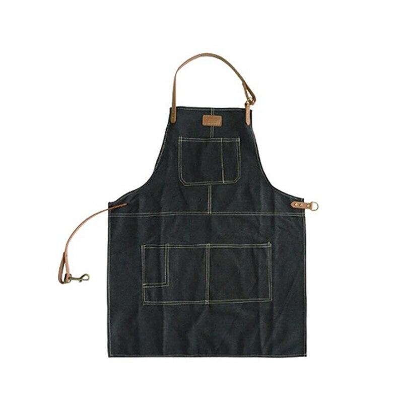 Модный фартук в скандинавском стиле из чистого хлопка унисекс кожаный джинсовый