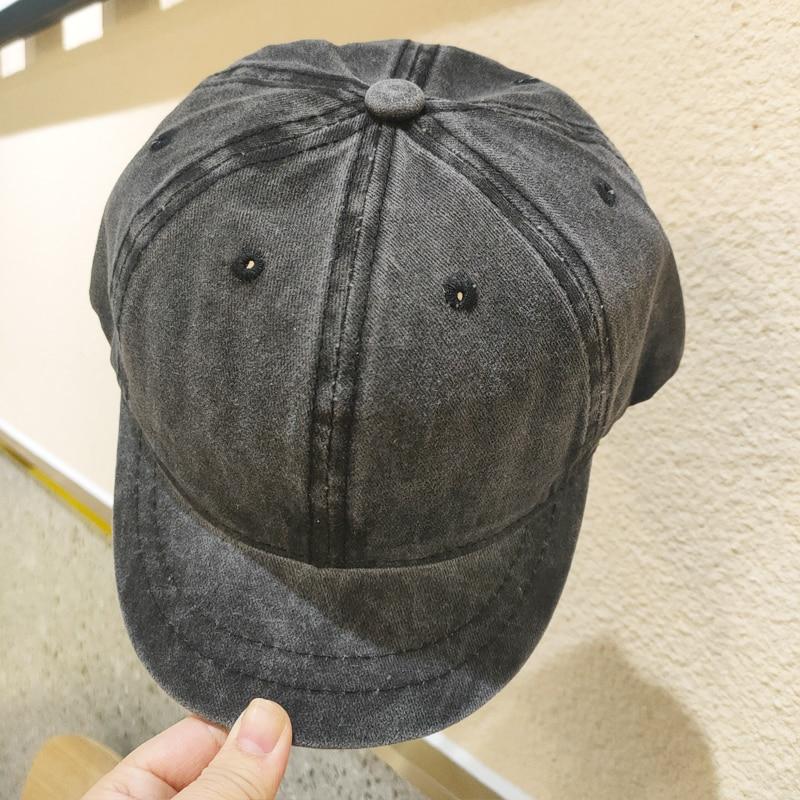 Pure color Cotton Short Brim baseball cap female summer classic wash jeans soft top cap male retro Washed Dad hat Snapback Hat