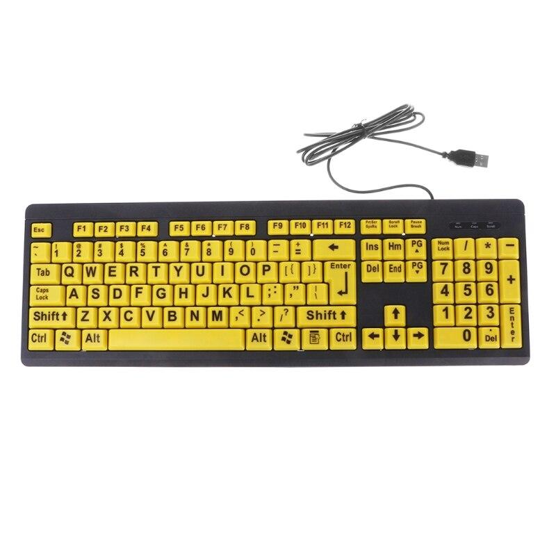 كبير أسود إلكتروني طباعة زر أصفر لوحة مفاتيح سلكية تعمل عبر USB لكبار السن ورؤية منخفضة