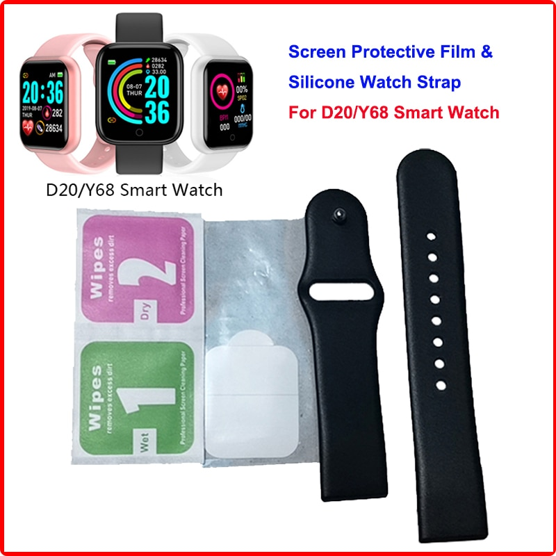 Original Strap For D20 Y68 Smartwatch Replacement Watch TPU Wrist Strap Y68 Film Screen Protective F