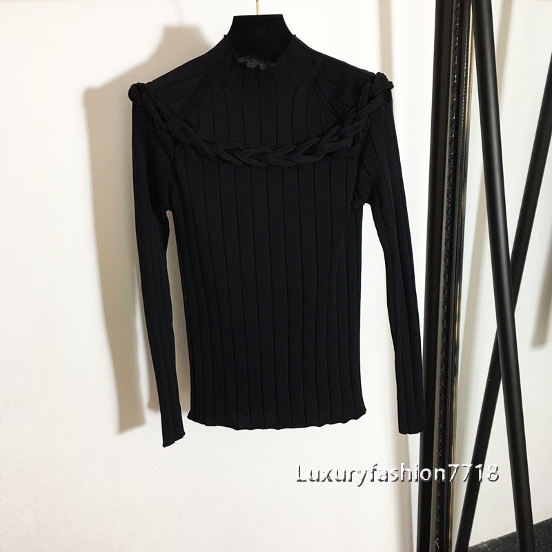 21 fashion fall clothes foe women Twist weaving hollow out  long sleeve Stand collar slim fit elastic jumpers sweater pullover enlarge