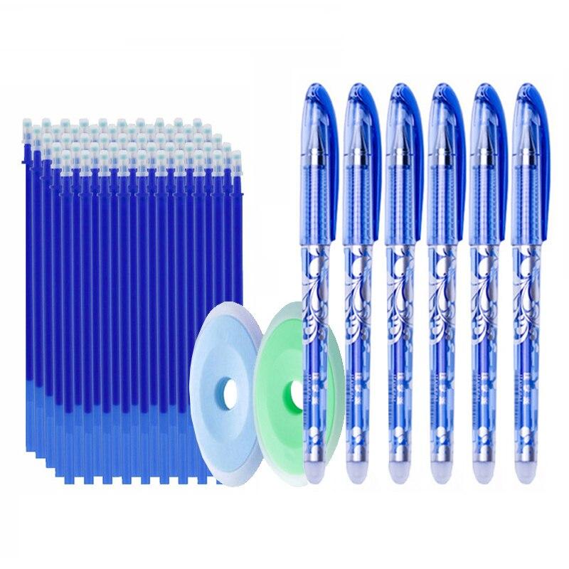 50pcs/lot Erasable Gel Pen Refills 0.5mm Office School Erasable Pen Washable Handle Colored Erasable Ink Pens Writing Stationery