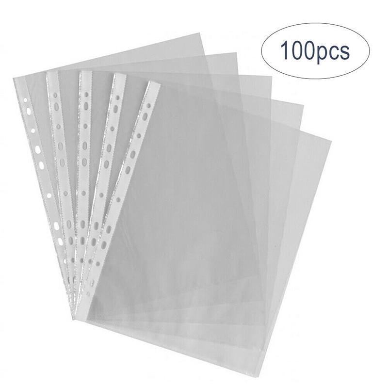 Unids/set A4, carpeta transparente con 11 orificios, bolsa de almacenamiento de papel transparente con hojas sueltas, Protector de hoja de documentos, organizador de archivos de documentos, 100
