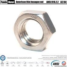 304/316 acier inoxydable américain mince hexagone écrou ANSIB18.2.2 mince écrou pouce taille 1/4, 5/16, 3/8, 7/16, 1/2, 5/8, 3/4, 7/8,,, 1