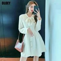 one piece ladies elegant office mini dresses korean women autumn clothing 2021 new fashion single breasted high end party dress