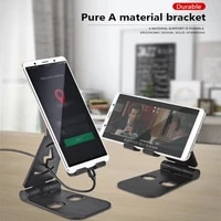 universal cell desktop stand for phone tablet stand foldable double adjustable desk stand charging space mobile phone holder
