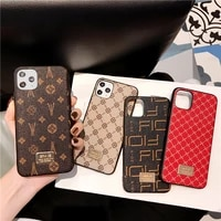 luxury brand square flower hard leather soft border phone case for iphone x xr xs max 7 8 plus10 11 pro geometric back cover