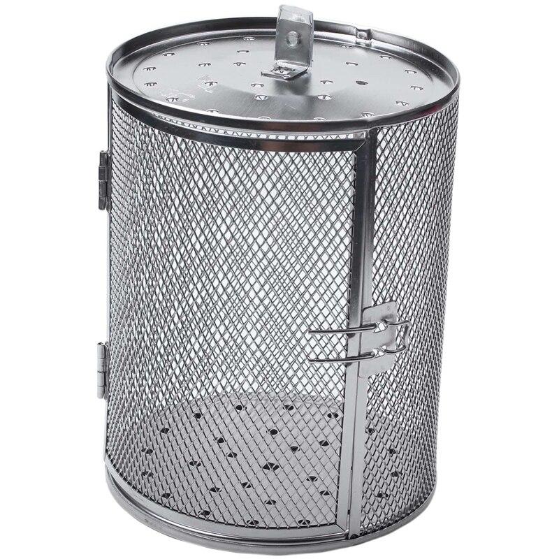 Cesta de almacenamiento para cacahuetes, granos de café, jaula asada para horno, parrilla de barbacoa de acero inoxidable, tambor asador 14x18cm