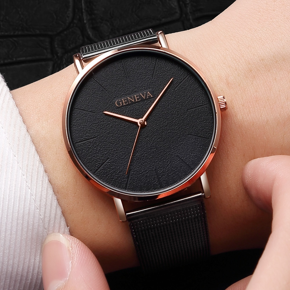 Ultra Thin Stainless Steel Watches Casual Mesh Quartz Wrist Watch For Women Trendy Rose Gold