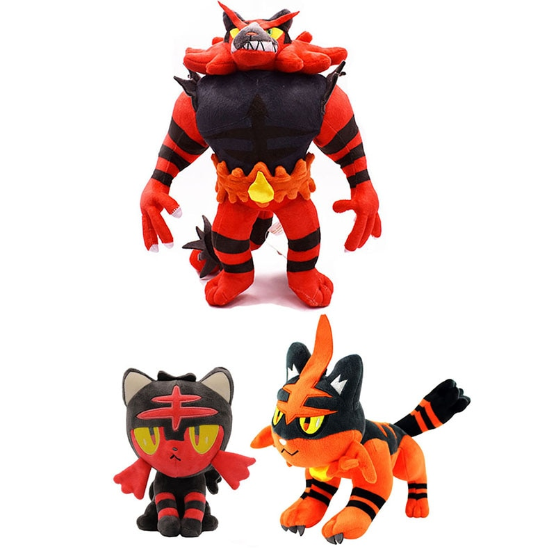 Caliente de dibujos animados Litten Torracat Incineroar de peluche muñecos de peluche de juguete Anime pkm juguetes de peluche para regalo para niños suave juguetes de peluche