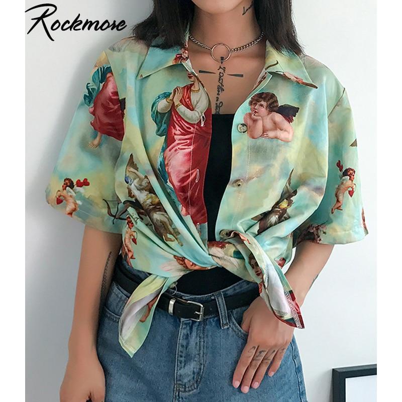 Rockmore vintage angel print blusa feminina plus size turn-down colarinho camisas com botão blusas streetwear senhoras streetwear topo