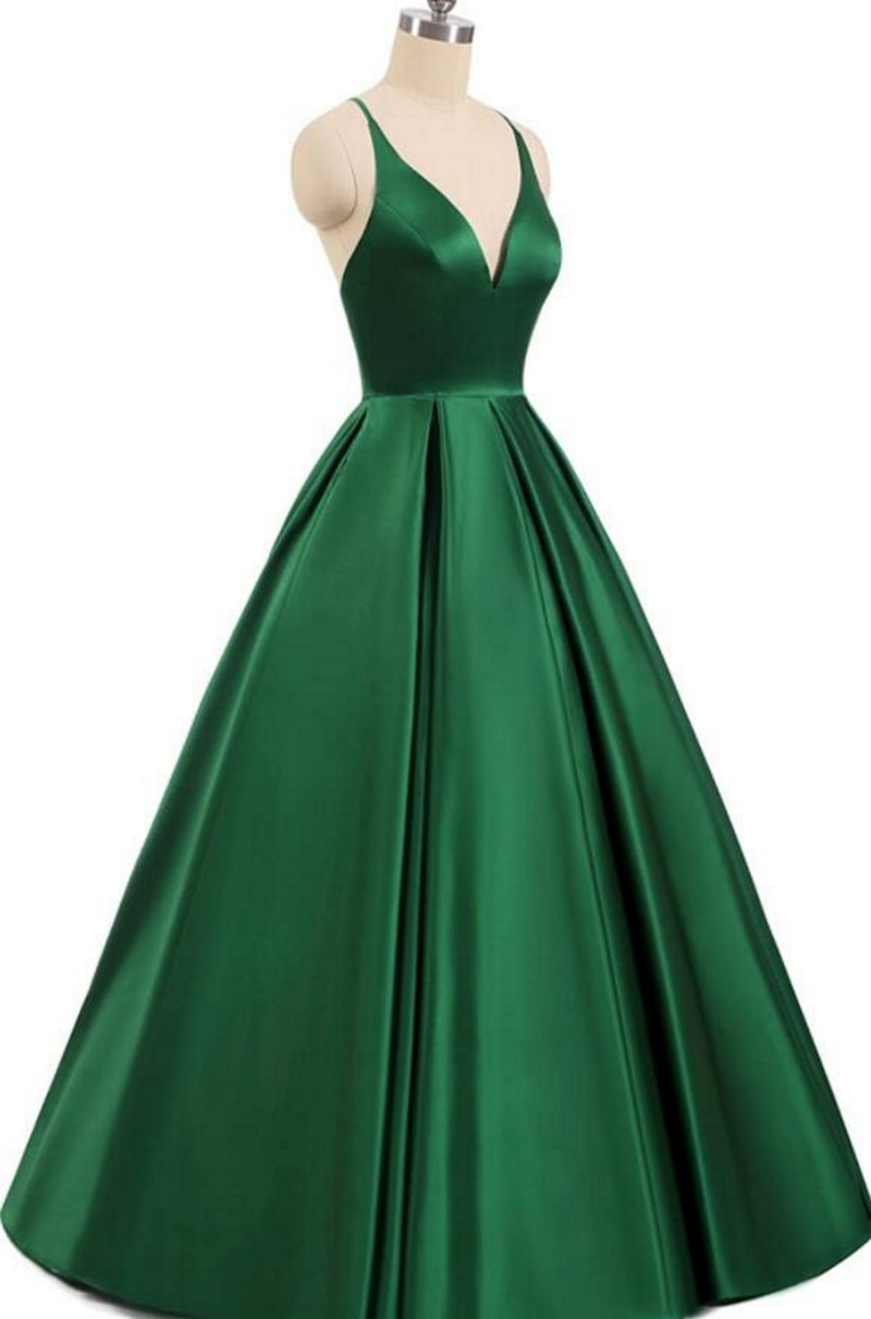 2021 V-Neck Satin Sleeveless Spaghetti straps A-Line Backless Criss-Cross Evening Dress Party Dress Backless Prom Dress