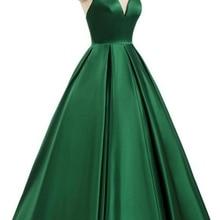 2021 V-Neck Satin Sleeveless Spaghetti straps A-Line Backless Criss-Cross Evening Dress Party Dress