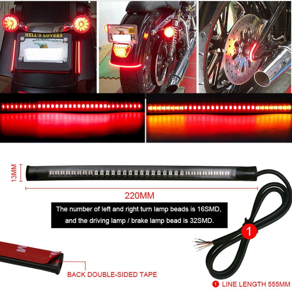 12 v led motocicleta barra de luz traseira da cauda luz tira vermelho/âmbar turn signal freio 3528 smd acessórios do carro universal