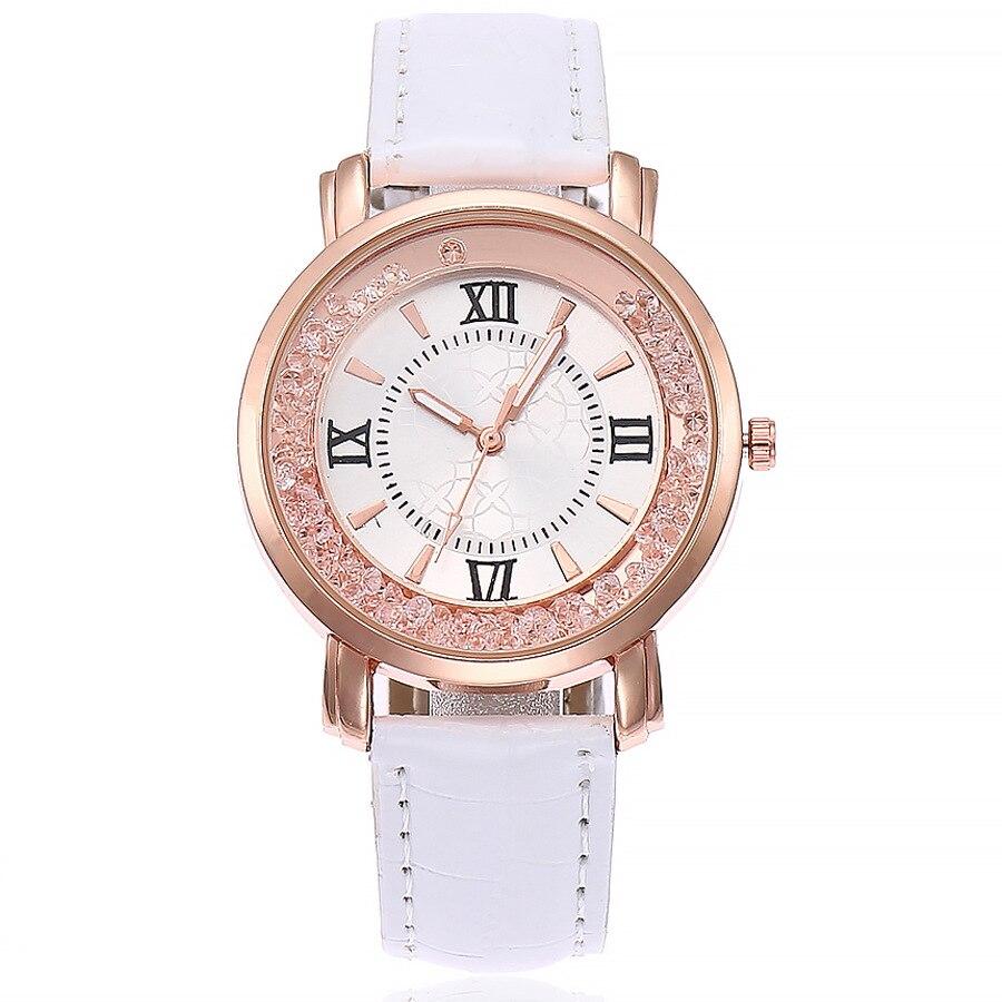 Fashion Womens Wrist Watch Korean White Leather Strap Quicksand Ball Roman Digital Dial Ladies Quart
