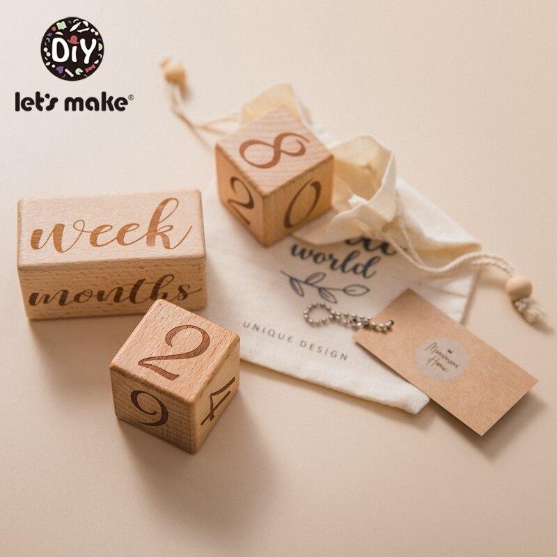 Laten We 3 Stks/set Log Blok Baby Milestone Vierkante Brief Gegraveerd Hout Zuigelingen Baden Gift Pasgeboren Fotografie Kalender