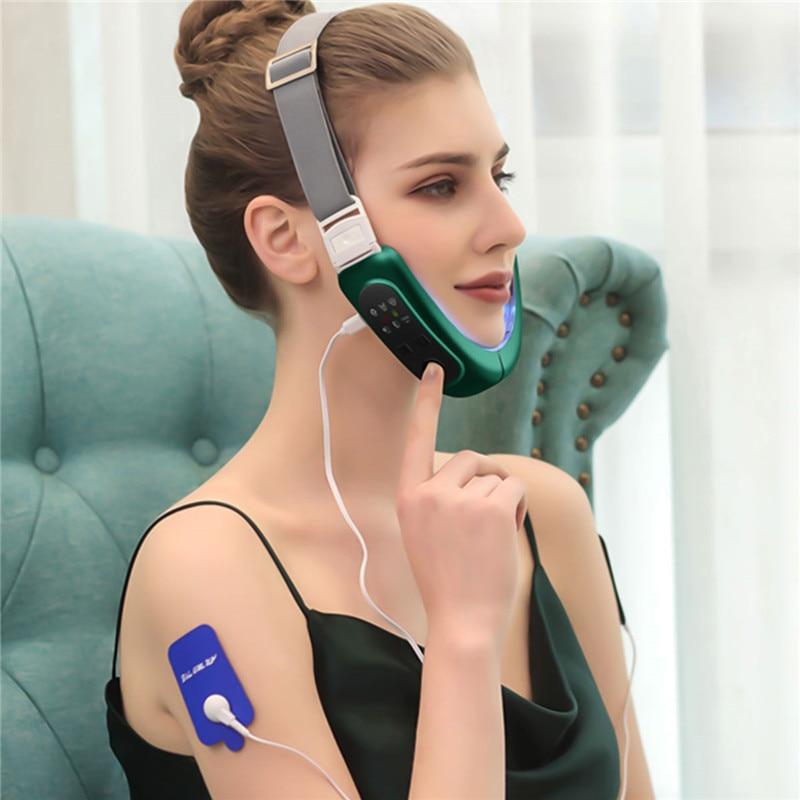 Ckeyin V-Cara mentón cinturón elevador de rojo azul terapia de fotones LED Lifting Facial adelgazamiento Facial blanqueamiento masajeador V-Cara cuidado 50