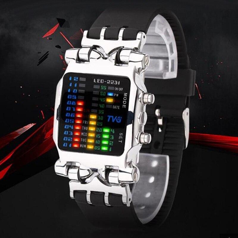 TVG Fashion Square Watches Men LED Digital Watches Fashion Sport Resin Strap Electronic Wristwatches Men Relogio Masculino 2020