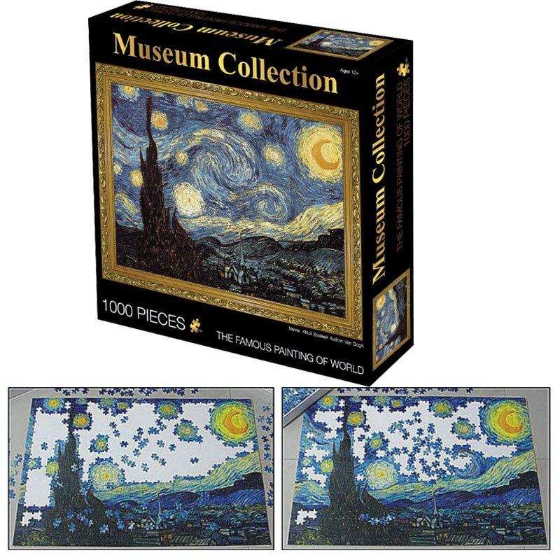 Adulto quebra-cabeça 1000 peças van gogh pintura céu estrelado puzzle aprendizagem educação interessante brinquedos para crianças presente brinquedos