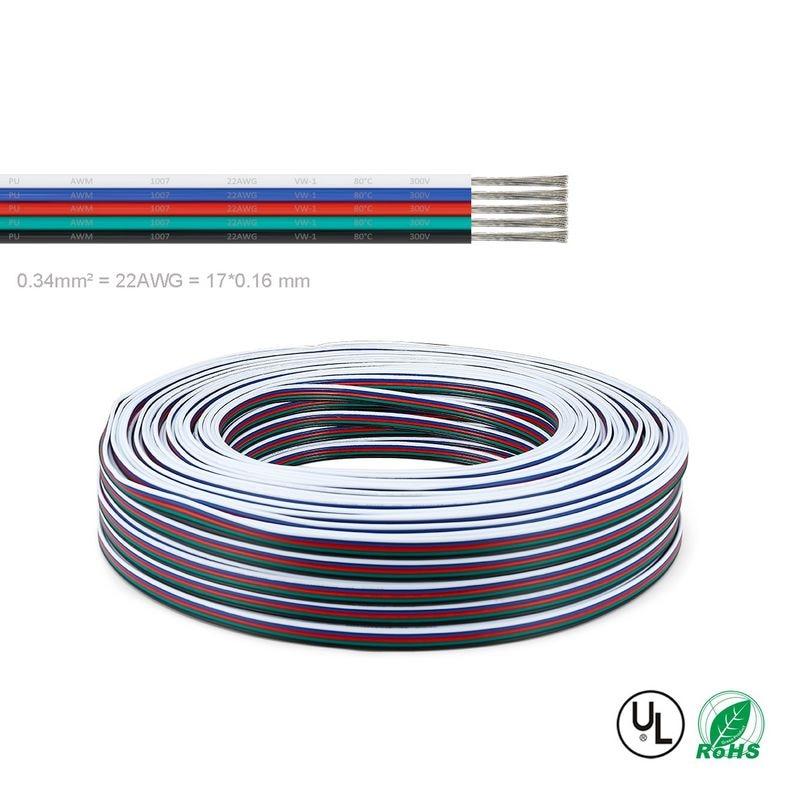 10 rollo de 100m 5pin UL2468 22 AWG 5x0,34 sq mm alambre...
