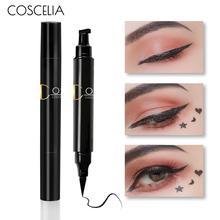 Coscelia 1 Pc 2-In-1 Waterdichte Zwarte Dubbele Hoofd Stempel Eyeliner Pen Waterdichte Tattoo Stempelen Eye Liner potlood Voor Make-Up Tool