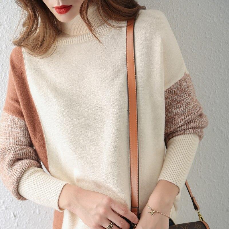 2020 otoño e invierno nuevo suéter de mujer suéter de punto de fondo suéter de cachemira cuello alto jersey corto suéter suelto enlarge