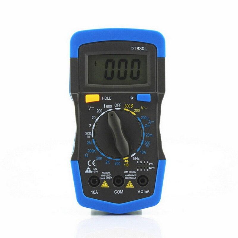 Multímetro portátil ac dc amperímetro resistência tester multímetro digital portátil multi medidor de luz de fundo com sensores de teste