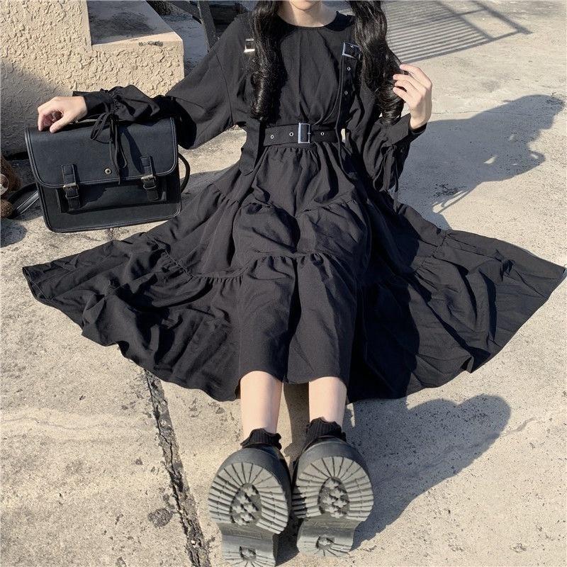Gothic Style Dress Women Harajuku Gothic Lolita Kawaii Dress Punk Cute Long Sleeve Black Midi Dress 2021