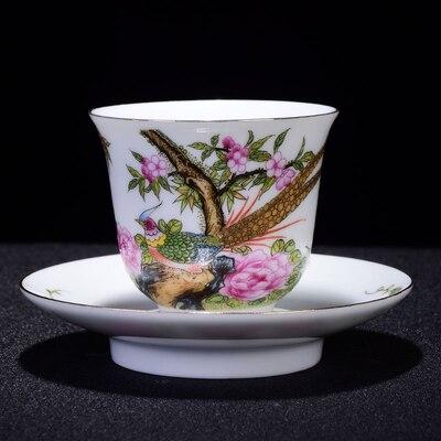 Pintados à Mão Flores e Pássaros Tigela de Chá Copo de Cerâmica Jingdezhen Teacup Esmalte Kung Chá Preto Jinun Mei Único Teaware fu