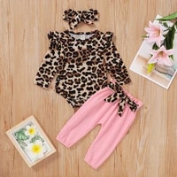 pudcoco newborn baby girl clothes flowerleopard print long sleeve romper tops long pants headband 3pcs outfits casual clothes
