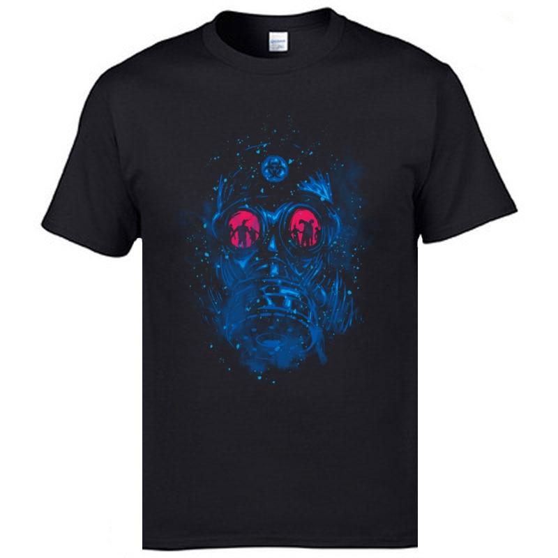 Biohazard Mask Skull Galaxy Design T-Shirt Medical Waste Chemistry Skull New Mens Summer Tshirts The Walking Dead Drop Shipping