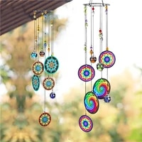 creative printed iron sheet metal wind chimes yard garden hanging pendant delightful sound wind chimes for home yard decor