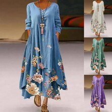 Dresses for Women Casual Floral Long Sleeve Dress Summer Autumn Ladies Double Layer V Neck Button Bo