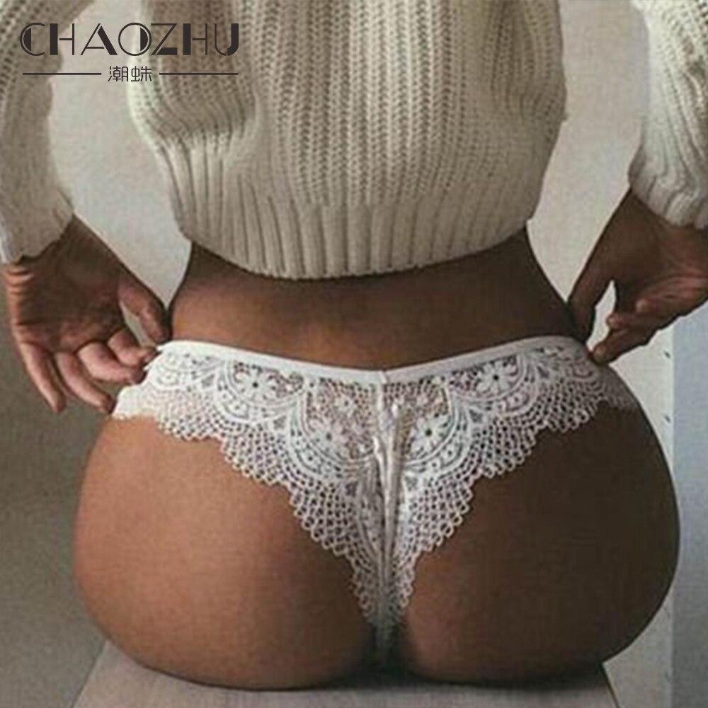 CHAOZHU الدانتيل سيدة مثير تنفس أسود أبيض الملابس الداخلية زائد حجم S-XXL صالح كبير حجم الملابس الداخلية سراويل G سلسلة ثونغ الأزهار