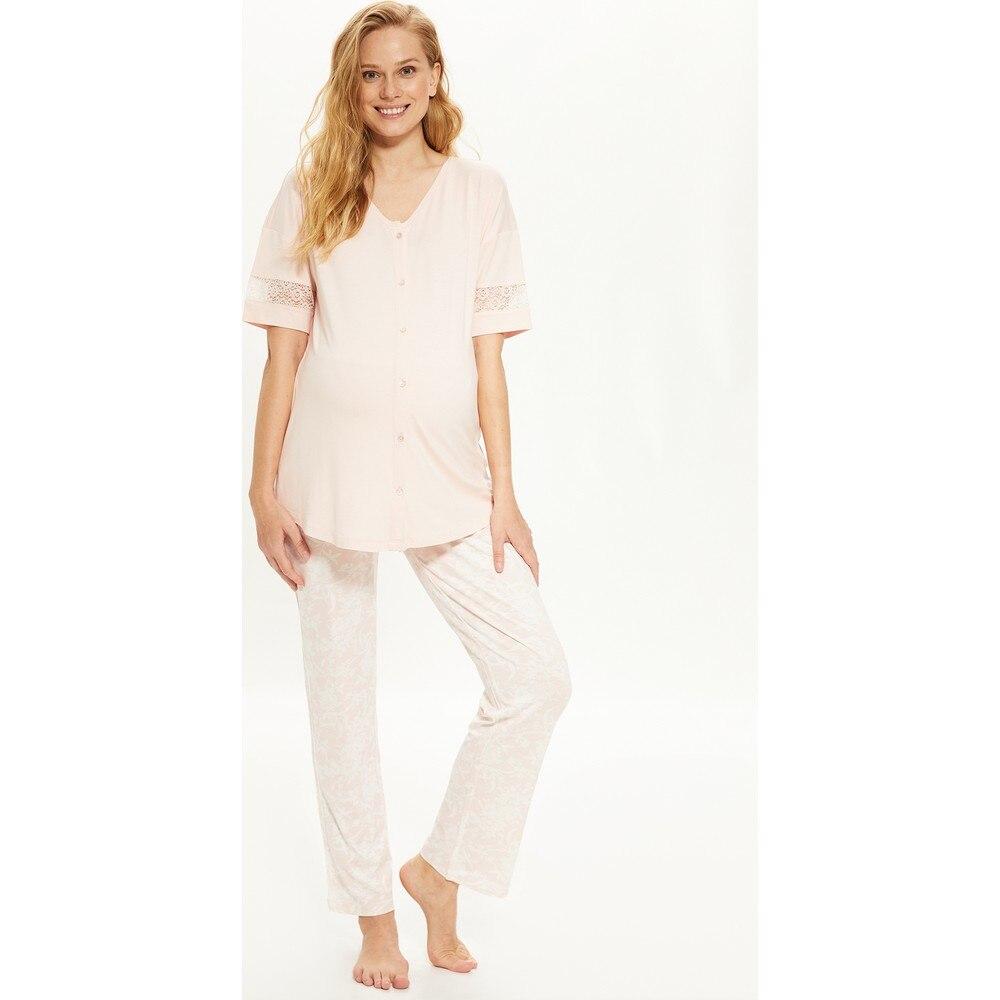 Women Pregnant Pajamas Set Soft Comfy Organic Sky Blue Color Mom Pajamas Set Post-natal беременная enlarge
