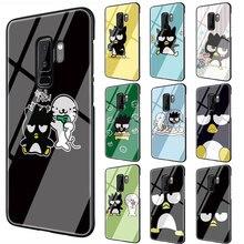 Coque de protection noire TPU en verre trempé mauvais pingouin BADTZ MARU pour Galaxy S7 Edge S8 S9 S10 Plus Note 8 9 10 A10 20 30 40 50 60 70
