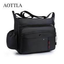 AOTTLA Solid Color Shoulder Bag Male Large Capacity Business Work Men Crossbody Bag Outdoor Waterpro