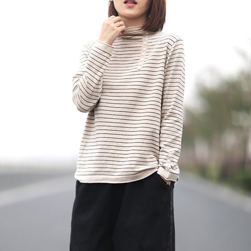 Johnature Autumn Winter Fashion All-match Striped Turtleneck Bottoming Sweater 2021 New Simple Button Women Pullovers Sweater enlarge