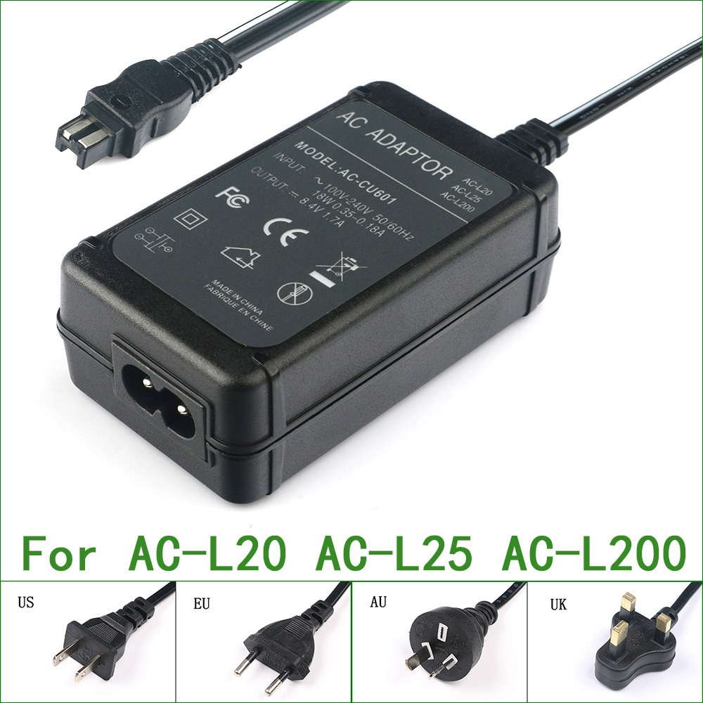 AC-L200 AC-L25A AC-L25B AC-L25C adaptador de alimentação ca para sony cyber-shot câmera e handycam DCR-IP/dvd/hc/sr/pc HDR-HC/ux