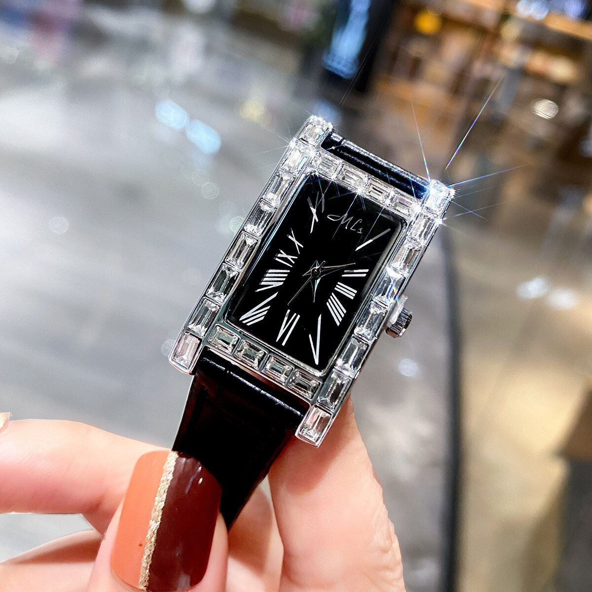 New Rectangle Diamond Fashion Women Watches Waterproof Lady Top Luxury Brand Ladies Casual Bracelet Crystal Watches Clock Box