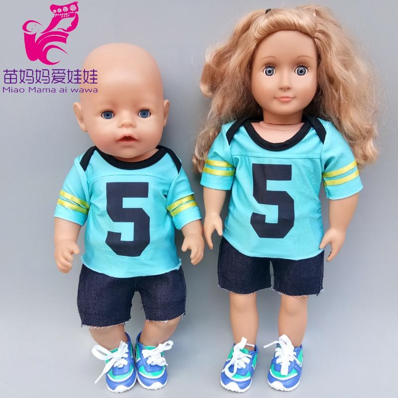 45cm muñeca bebé camiseta short vaqueros pantalones de 18 pulgadas-americano og-ropa de la muñeca de niña muñeca juguetes trajes