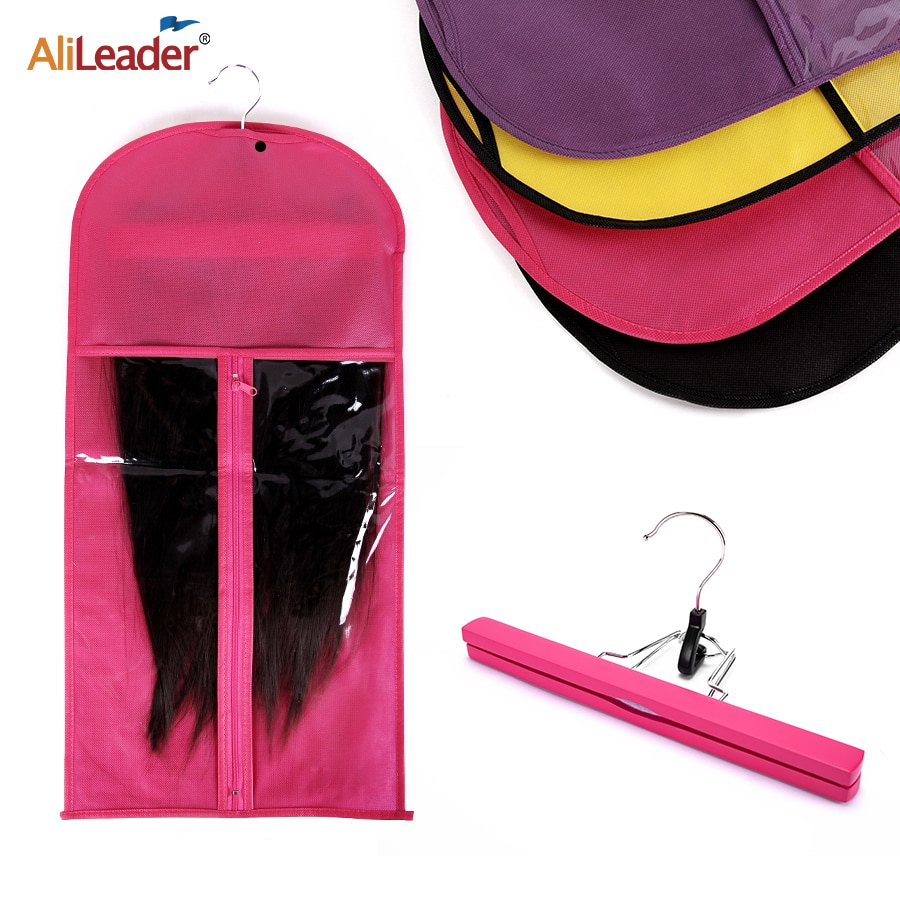 Alileader Pink Black Hair Bag With Wig Storage Holder For Hairpieces Non-woven Transparent Wig Acces