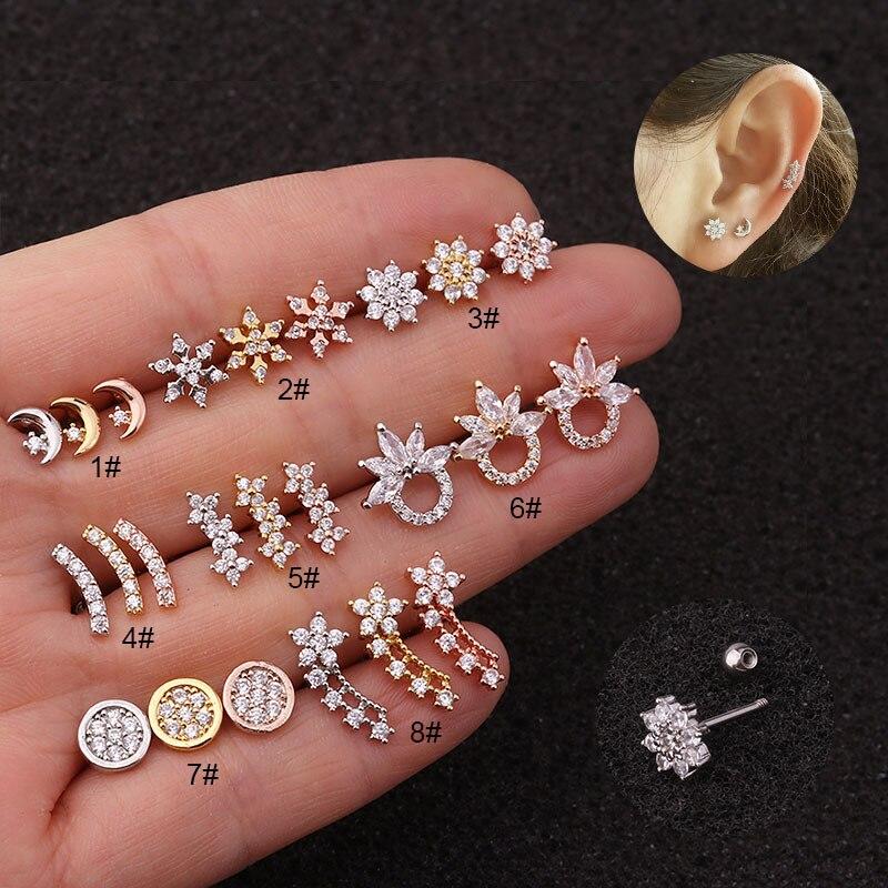 1 pc cz curvo cartilagem piercing jóias hélice de aço inoxidável brinco tragus rook conch parafuso volta parafuso prisioneiro