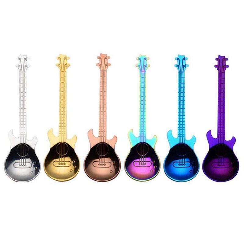 6 piezas café cucharaditas guitarra cuchara de acero inoxidable de colores de cuchara de postre Musical Café cuchara lindo utensilio de cocina para té