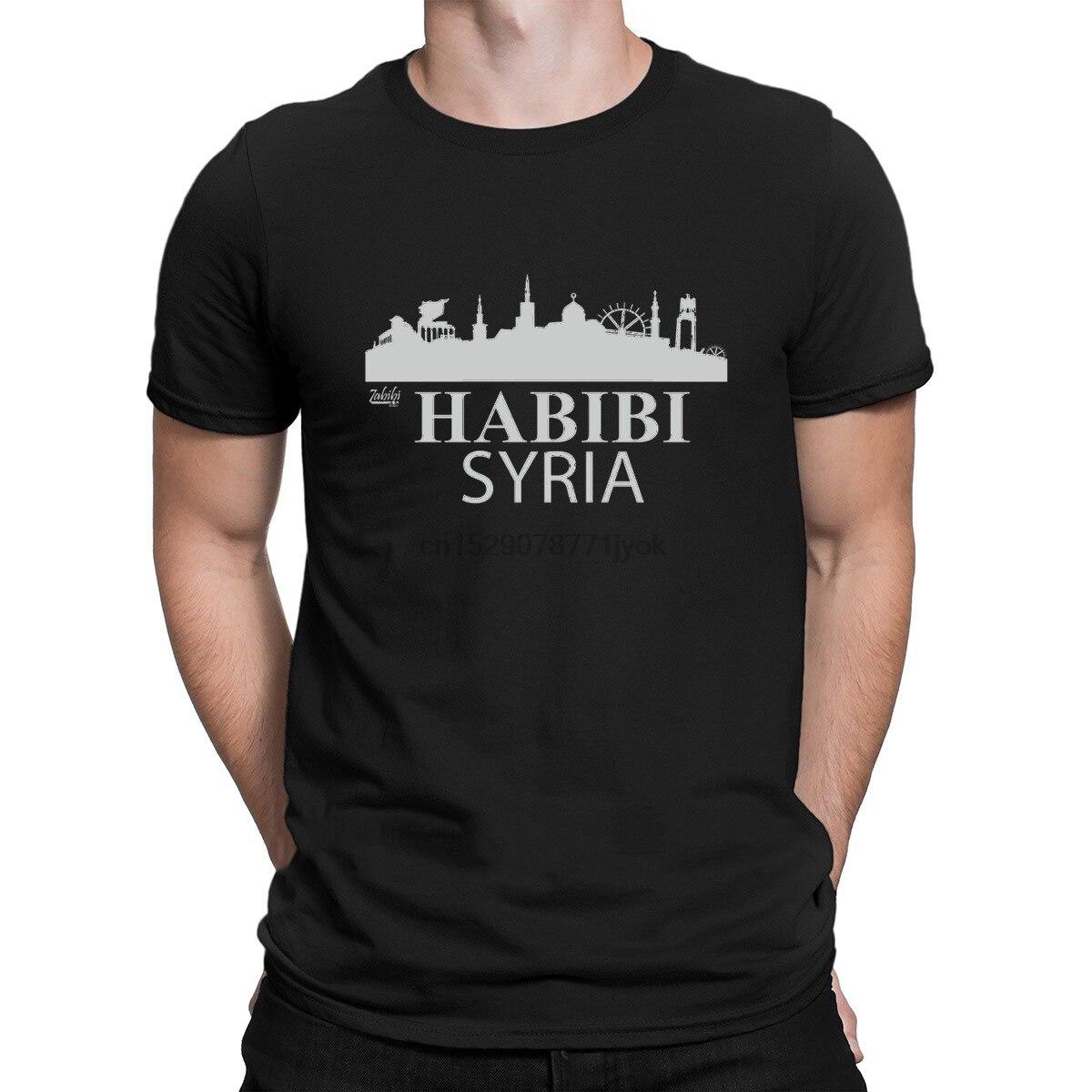 Habbibi Syrian T Shirt Vintage eslogan personalizado Building Mens Streetwear camisa hombres moda Fitness hombres tapas primavera novedad