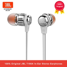 JBL T180A In-Ear Stereo Earphones 3.5mm Wired Sport Gaming Headset Pure Bass Earbuds Handsfree With microphone