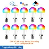 1-10 pieces 10W WiFi RGB economie denergie gradation LED Inteligente ampoule E14 pour lapplication de vie intelligente  avec Amazon Alexa Google Assistant a la maison